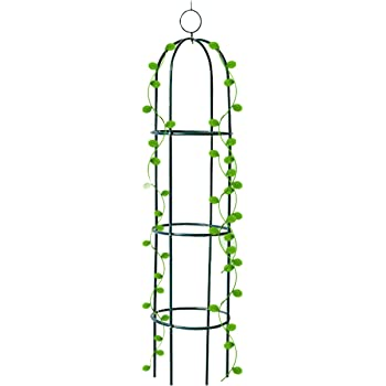 Tower Obelisk Garden Trellis 6.3 Feet Tall Plant Support for Climbing Vines and Flowers Stands,Black Green Lightweight Plant Tower