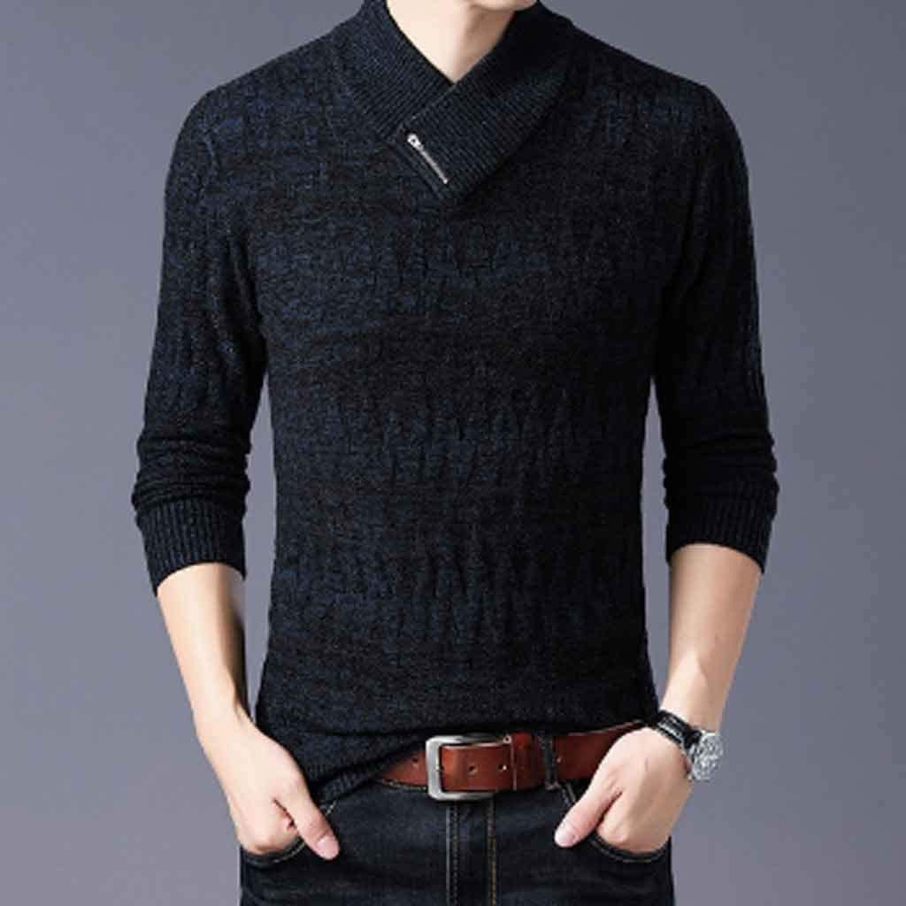 ZYING Sweaters Man Pullovers Slim Fit Jumpers Knitwear Woolen Autumn Korean Style Casual Mens Clothes (Color : XXL Code)