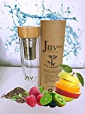 Jnvshop Tea Infuser Flasche und Saftpresse Glas - 500 ml Fläschchen - Beste BPA-freie Wasserflasche - Saft oder Teeflasche für heiße und kalte Flüssigkeiten