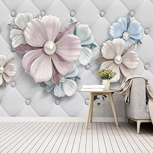 Fotomurales,Personalizado 3D Gran Mural Papel Pintado Joyería Estéreo Moderna Flores De Rollo Suave Murales Sala De Estar TV Sofá Dormitorio Decoración De La Pared, 200 Cm (H)×300 Cm (W)