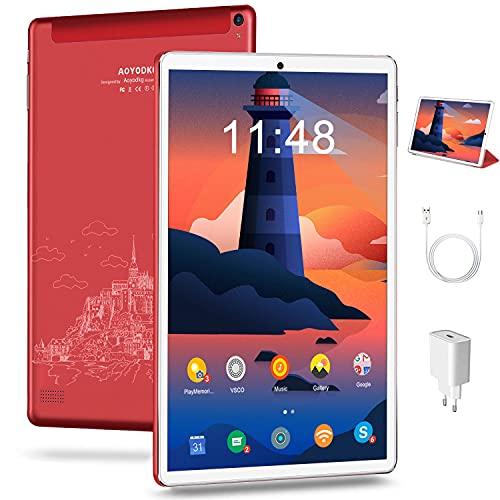 Tablet 10.1 Pollici Android 10, 5G WIFI, 4GB + 64GB 128GB Espandibili, Certificato da Google GMS Tablet Pc,1280* 800IPS,6000mAh Batteria|WiFi|Bluetooth|FM|Type-C (Rosso)