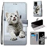 Miagon Flip PU Leder Schutzhülle für Samsung Galaxy S20 Ultra,Bunt Muster Hülle Brieftasche Case Cover Ständer mit Kartenfächer Trageschlaufe,Grau Katze
