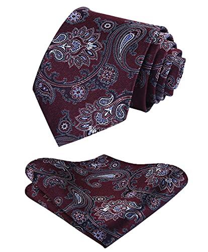 HISDERN Cravatta e fazzoletto da uomo con cravatta paisley floreale extra lungo floreale Set