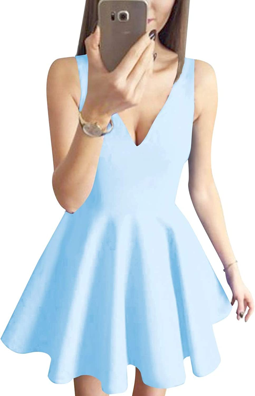 Bess Bridal Women's V Neck Sleeveless Short Pleated Prom Homecoming Dress