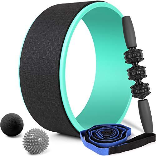 Odoland Ruota Yoga 5 in 1, Yoga Wheel con Cinghia Yoga, Roller Stick, Palline Massaggio, Set di Yoga Wheel per Schiena Stretching e Fitness Dharma Yoga Migliorare Flessibilità Muscolare