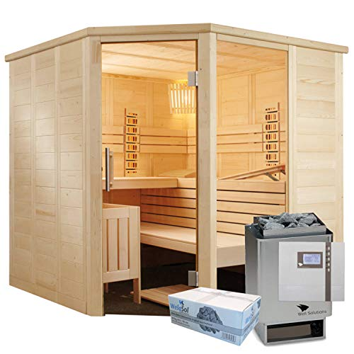 Well Solutions Saunakabine Alaska Corner Infrarot inklusive Saunatechnik