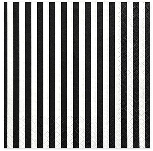 Servietten Schwarz Weiß gestreift 20 Stück/Black and White Papierservietten