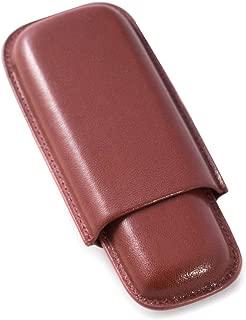 Bey-Berk Genuine Leather Cognac Brown Telescoping Two Cigar Case Holder