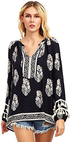 Floerns Women s Boho Mexican Print Loose Casual Long Sleeve Tunic Top Blouse Black XXL product image