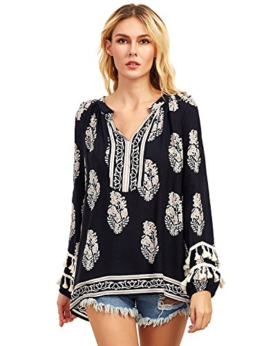 Floerns Women's Boho Mexican Print Loose Casual Long Sleeve Tunic Top Blouse Black S