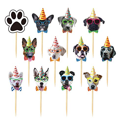 Finduat 24Pcs Dog Cupcake Toppers, Cute Cartoon Dog Head Cake Cupcake Picks for Kids Birthday Party Baby Shower Supplies Cat Kitten Theme Party Decorations