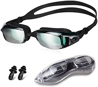 HUBO SPORTS Swim Goggles, Swimming Goggles for Women Men Kids, Competition Swim Goggles of No Leaking Anti Fog UV 400 Protection Clear Vision Triathlon with Free Protection Case Adult Youth