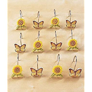 Set of 12 Sunflower and Butterfly Shower Hooks by GetSet2Save