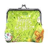 Happy Easter Egg Monedero de piel verde con cierre para mujer y niña, monedero con cierre de beso