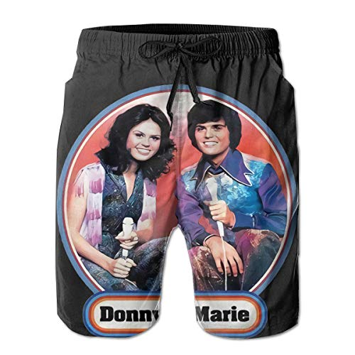 AngelaHenderson Men's Cool Donny and Marie Osmond Logo Lightweight Quick Dry Beach Shorts White Large