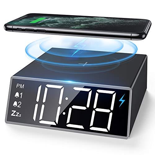NBPOWER Digitaler Wecker mit kabelloser Qi-Ladestation, Digital Uhr mit 4 Helligkeit/Snooze/LED-Anzeige/Wireless Charger Kompatibel mit IOS & Android für Schlafzimmer, Nacht Kinder und Büro