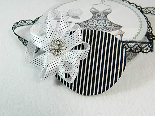 Augenklappe rechts schwarz weiß Streifen Polkadots Eyepatch Karneval Pirat Gothic