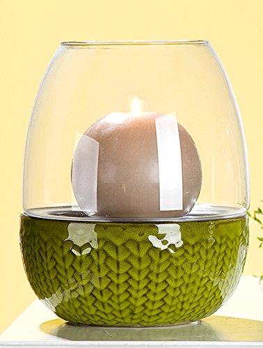 Windlicht Spiga Keramik Glas 2-sort. GILDE Kerzenhalter Teelichthalter ( DxH ca. 18x22cm)