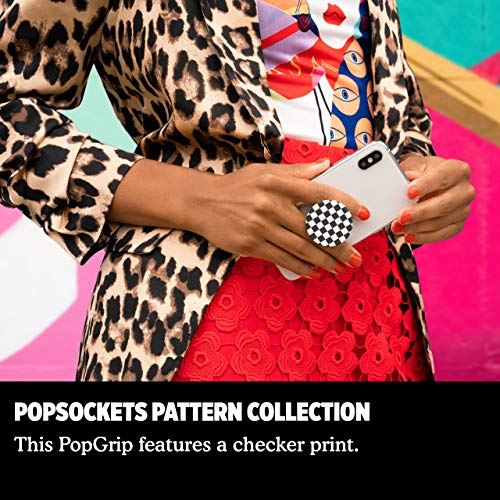 PopSockets: PopGrip Expanding Stand and Grip with a Swappable Top for Phones & Tablets - Checker Black