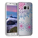 kwmobile Funda Compatible con Samsung Galaxy S7 Edge - Carcasa de TPU y Flores pintadas en Rosa Fucsia/Azul/Transparente