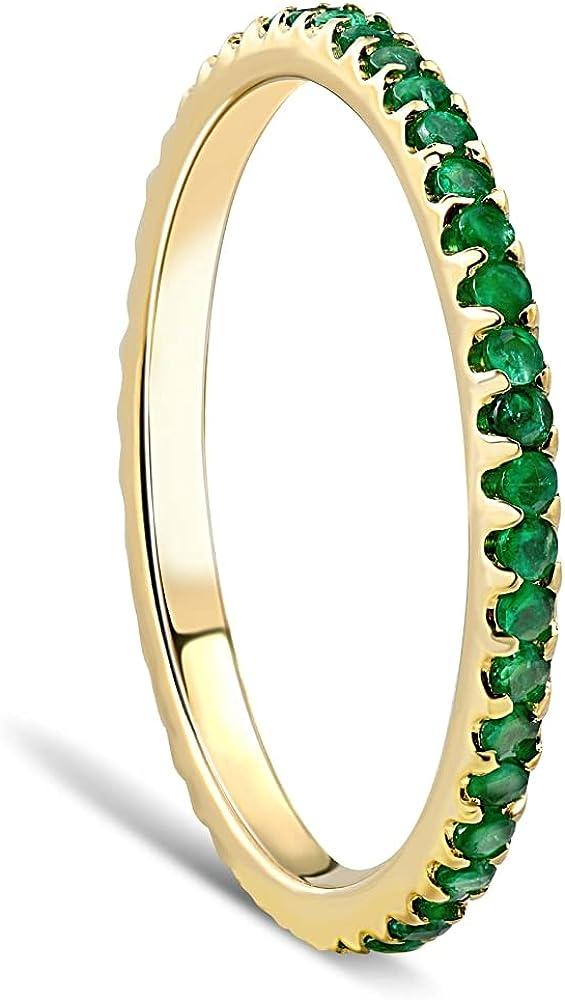 1/2Ct Emerald Eternity Ring Anniversary Band 10k Yellow Gold