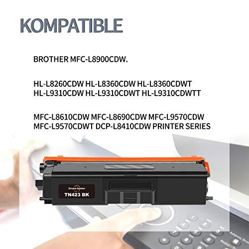 Dream-seeker Compatible con Brother TN 421 TN 423 TN421BK TN423BK TN421C Cartuchos de Tóner para Brother HL-L8360CDW MFC-L8900CDW HL-L8260CDW HL-L9310CDW MFC-L8690CDW DCP-L8410CDW (4 Paquetes)