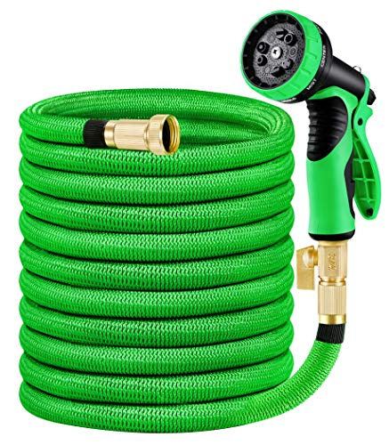 """MoonLa 75ft Garden Hose, Expandable Water Hose with 3/4"""" Solid Brass Fittings, Extra Strength Fabric - Flexible Expanding Hose with 9 Function Water Spray Nozzle"""