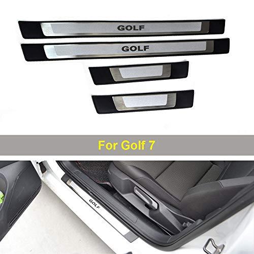 Einstiegsleisten Schutz Autoeinstiegsleiste Zubehör Kompatibel mit Golf 7 Auto Edelstahl-Verschleiss-Pedal-Schutz-Styling-Aufkle,Silber
