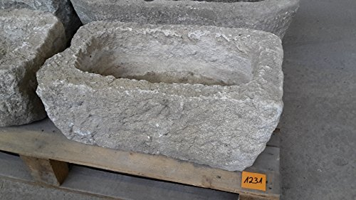 Der Naturstein Garten Alter Trog aus Granit 54 cm lang Brunnen Steintrog - G1231 Granittrog Waschbecken
