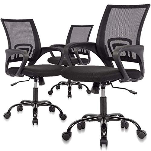 Simple Home Ergonomic Desk Office Chair Mesh Computer Chair, Lumbar Support Modern Executive Adjustable Stool Rolling Swivel Chair for Back Pain, Best Chic Modern Desk Chair - Black, 3 Piece Set