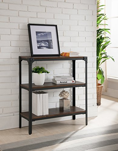 Kings Brand Furniture 3 Tier Antique Finish Bookcase, Walnut / Black