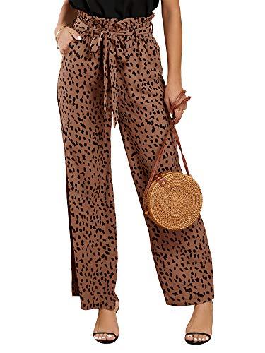 Imily Bela Damen Paperbag Hose Elegant Leopard Palazzo Hose Weite Beine Freizeithose High Waist mit Gürtel