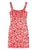 SOLY HUX Women's Floral Print Frill Sleeveless Tie Front Ruched Bodycon Short Dress Pink Heart S