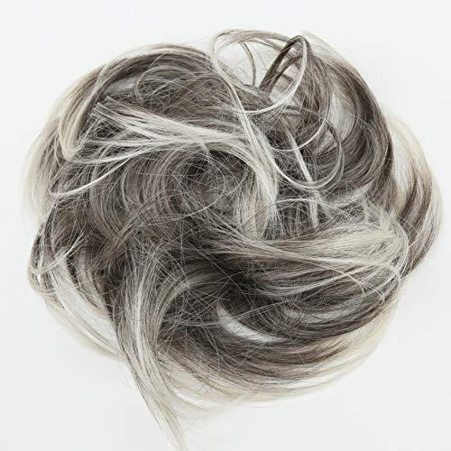 PRETTYSHOP Haarteil Haargummi Hochsteckfrisuren Brautfrisuren Voluminös Leicht Gewellt Unordentlich Dutt Grau Blond Mix G21B