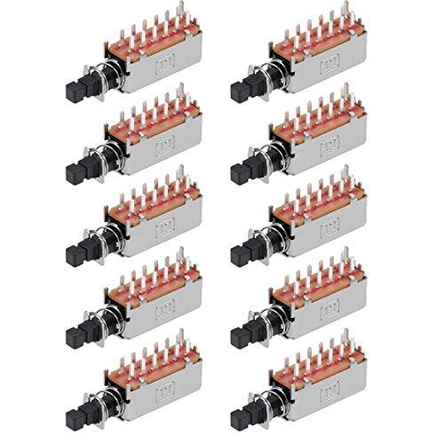 YeVhear 4PDT - Interruptor de botón pulsador de 12 pines, 1 posición, autobloqueante, negro, 10 unidades
