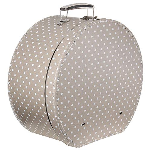 Lierys Hutkoffer Beige-Pünktchen - Maße: ca. 40 cm x 20 cm - Große Hutschachtel mit Kunstleder - Hutbox zur Aufbewahrung mit Tragegriff - Koffer für Hüte - Deko für Wohnung beige