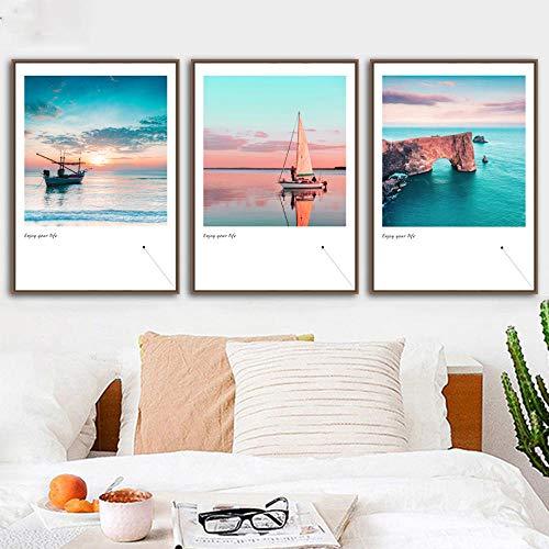 IGZAKER Landschap Muur Canvas Azure Window Zee Boot Zeilboot Schilderij Nordic Posters En Prints Muur Foto 'S Voor Woonkamer Decor-40x60cmx3pcs geen frame