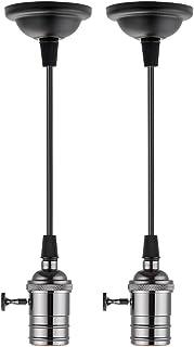 2 portalámparas Elitlife, casquillo E27, de cobre, vintage, retro, antiguo, Edison, lámpara de techo, accesorios para colgar con cable de 1,2 metros, color negro