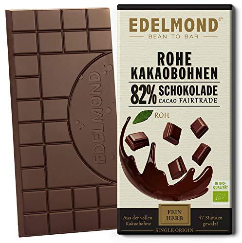 Edelmond Bio Rohe Schokolade 82%, bitter. Nur Kakaobohnen und Kokosblütennektar. Als Genuss - Geschenk ideal! Vegan und Fair-Trade (1 Tafel)