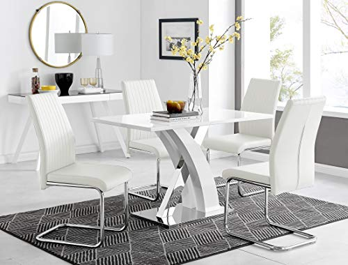 Atlanta 4 Rectangle White High Gloss Chrome Metal Modern Stylish 4 Seater Dining Table And 4 Luxury Faux Leather Lorenzo Dining Chairs Set (Dining Table + 4 White Lorenzo Chairs)
