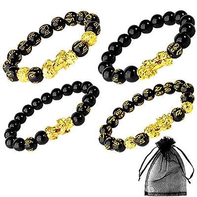 Sumfox 4Pcs Feng Shui Bracelets Black Obsidian Wealth Bracelet for Good Luck Elastic Bracelet Pi Xiu Beads Black Bracelet for Women Men With Bag