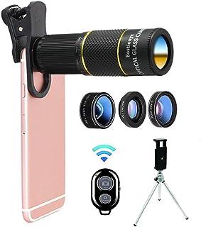 Bostionye スマホ用カメラレンズ 22x 望遠レンズ 0.63x 広角レンズ 15 xマクロレンズ 198°魚眼レンズ ミニ三脚 収納バック付き iphone Android タブレットなど対応