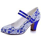 ElegantPark HC1701 Mujer Mary Jane Punta Chiusa El Tacón Alto Pumps Cordones Satén Zapatos de Boda Fiesta Azul EU 40