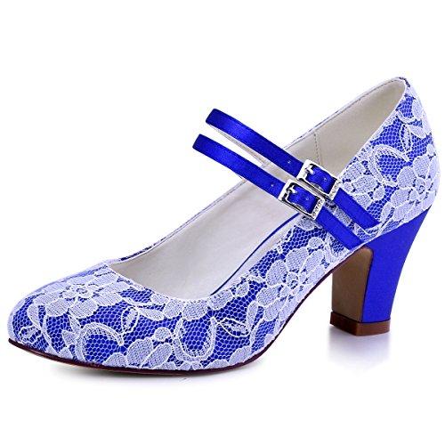 ElegantPark HC1708 Mujer Bloquear Heel Mary Jane Pumps Hebilla Satén Cordones Zapatos de Novia