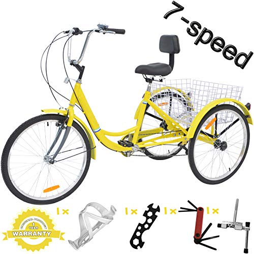 3 Wheel Bikes for Adults with Gears - VANELL 7/1 Speed Tricycle Adult