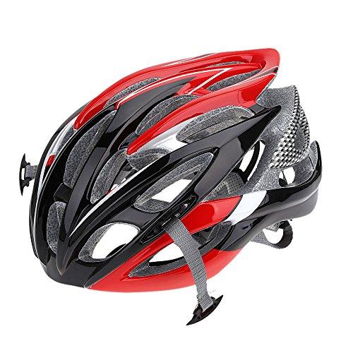 Lixada- Casco de bicicleta de montaña o carretera, regulable, 26 orificios para la ventilación, muy ligero, de EPS, rojo