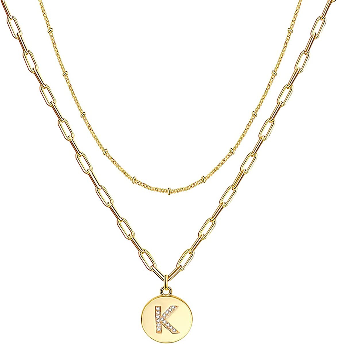 Reoxvo Dainty Gold Initial Layered Necklaces for Women,18K Gold Plated Layered Initial Letter Choker Necklace for Teen Girls Alphabets Trendy Gold Necklaces for Women