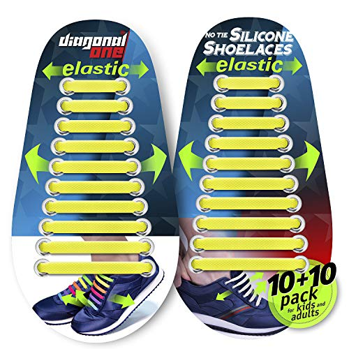 DIAGONAL ONE No Tie Shoelaces for Kids and Adults - Elastic Silicone Shoe Laces to Replace Your Shoe Strings. 20 Slip On Tieless Flat Silicon Sneakers Laces (Yellow)