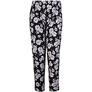 Womens Plus Size Floral Printed Ladies Elasticated Waist Long Pants Trousers Big Flower 16