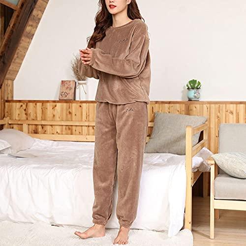 SDCVRE Conjunto de Pijama Conjuntos de Pijamas Ropa de Dormir Camisón Grueso Suelto Informal Suave cálido Ropa de hogar Traje Femenino Pijama, O Cuello Marrón, Talla única